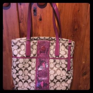 Burgundy coach monogram handbag